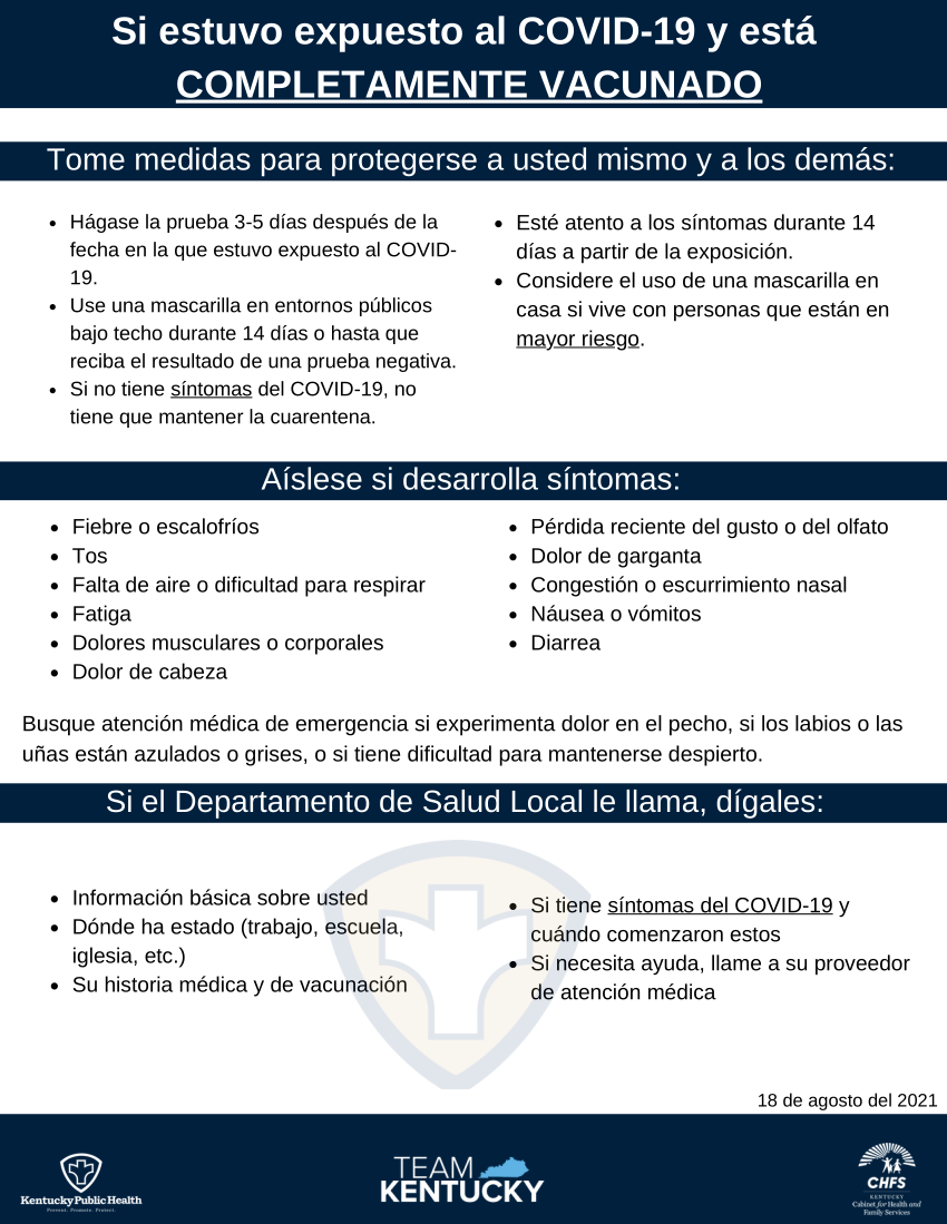 Spanish Not Fully Vaccinated Guidance